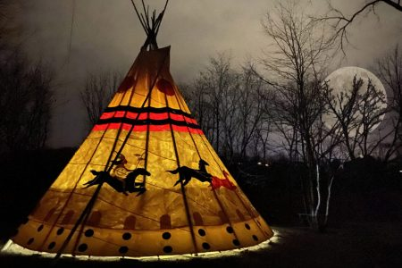 Tipi Rentals Hocking Hills Ohio with Full Moon
